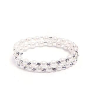 2 Rows Bangle Bracelet White Pearls Shiny Rhinestones Evening Bridal Party BB103