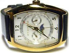 mens Android Triple Calendar Moonphase Day Date Month Gold Plated watch AD306