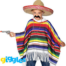 Mexican Poncho Kids Fancy Dress Wild West Bandit Boys Girls Western Costume New