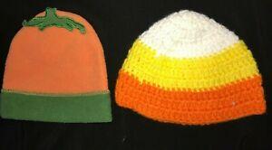 baby boys or girls HALLOWEEN HATS NEWBORN 0-3 month CANDY CORN PUMPKIN cute @@