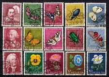 Schweiz Pro Juventute 1956, 1957, 1958, 632-636, 648 -652, 663-667 alle gestemp.