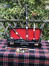 New Great Highland Rosewood Bagpipe Full Silver Amounts With Hard Case.