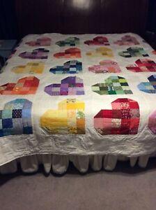 Handmade scrap heart King size quilt