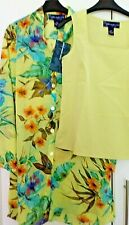 £32 Susan Graver Tropical Print Duster Cover Up Long Tunic & Camisole 10 /12 /14