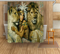 "60//72/""Ancient Egypt Cleopatra Beauty Waterproof Fabric Bath Shower Curtain Hooks"