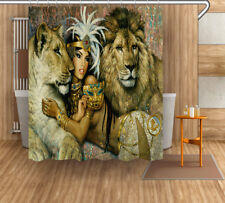 Bathroom Set Egyptian Cleopatra Lion Shower Curtain Liner Waterproof Fabric Hook