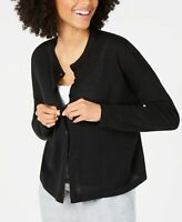 Eileen Fisher Womens Sweater Black Size XL Button-Front Cardigan $278- 760