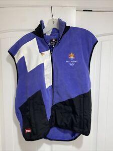 Vintage 2002 SALT LAKE Ski Winter Olympics MARKER Unisex Fleece Small Vest M