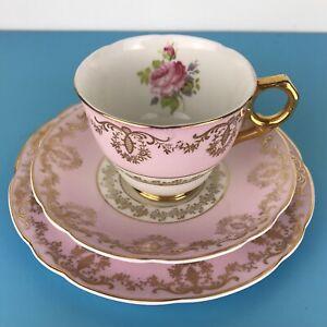 Vintage China Trio Leonard St Pottery Burslem Pink Princess Cup,Saucer and Plate