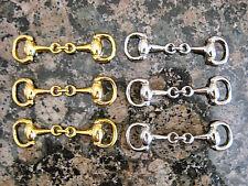 6 pc-Silver & Gold Equestrian Snaffle Horse Bit Charm, DIY Wholesale Hi Quality