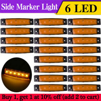 20 x Amber 12V 6 LED Side Marker Indicators Lights Lamp Truck Trailers Lorry RV