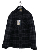 Hombre Invierno Exterior Abrigo Negro Gris Cuadros Big Talla XXXL Chaqueta Thick