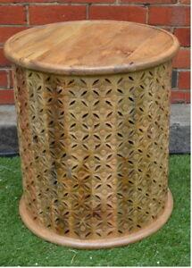 Round Hand Carved Natural Plantation Timber Bamileke Side Table