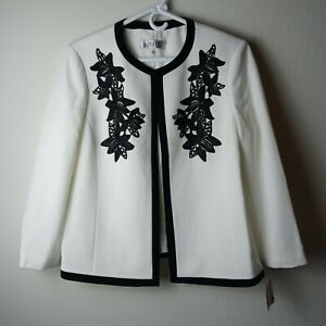 NWT Kasper size 14 ivory open front jacket blazer black floral applique