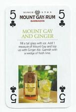 DRINKS - SINGLE PLAYING CARD - MOUNT GAY RUM - FIVE OF CLUBS (APSR)