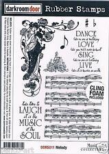 Darkroom Door rubber stamp MELODY MUSIC COLLECTION DANCE SING 18x12cm +foam back