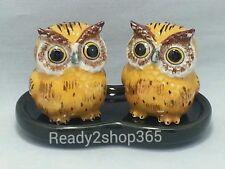 Owl Salt And Pepper Ceramic Shakers Set Figurine Brown Owls Shaker Decor New