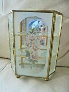 Vintage Glass & Brass Mirrored Curio Display Cabinet Case On Bun Feet Stunning