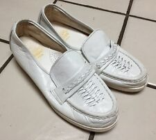 THE CLINIC SHOE White Leather Slip On Comfort Loafers Made In USA! Womens 6 M
