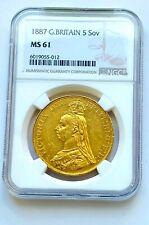 More details for 1887 slabbed gold five pound   ms 61
