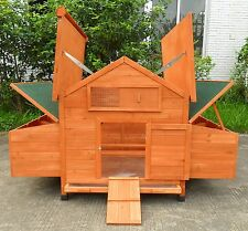 New Large Wood Chicken Coop Backyard Hen House 4-8 Chickens w 6 nesting box