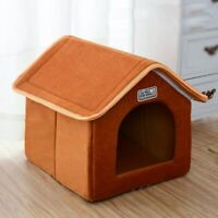 Pet House Foldable Bed With Mat Soft Winter Leopard Dog Sofa Cushion House