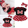 Infant Baby Girls Bowknot Dot Print Bodysuit Romper Dress+Headbands Outfits Set