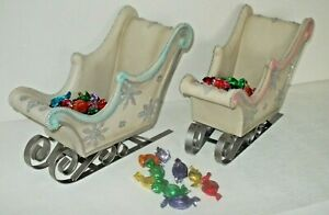 CHRISTMAS ORNAMENTAL SLEIGH SWEET HOLDER PINK OR BLUE WITH SPARKLEY SILVER