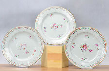 Lovely Set! 18th c Qianlong Famille Rose Chine de Commande Plate Flowers  Qing