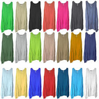 New Womens Plain Italian Lagenlook Quirky Long Boho Pocket Linen Tunic Dress