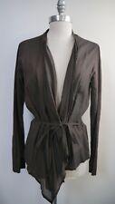 PAS DE CALAIS brown fine cotton wrap front belted blouse top size L