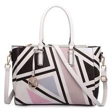 Women Designer PU Leather Patchwork Messenger Shoulder Tote Large Handbag