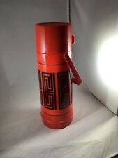 USED VINTAGE ALADDIN RED MOD PATTERN QUART THERMOS, MADE IN USA