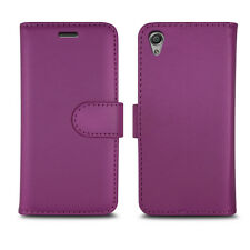Plain Purple Leather Wallet Book Protect Case for Apple iPhone 4 5 SE 6 7 8 & X Sony Xperia X - F512 / F51221
