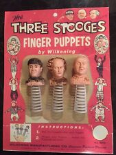 1959 Wilkening Three Stooges Finger Puppet Set With Rare Header Card Copy