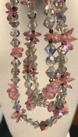 """Vintage 1950S Pink Faceted Aurora Borealis Crystal Three Strand Necklace 17"""""""