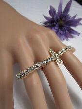 New Women Gold Ring Long Cross Metal Adjustable Religious Fashion Rhinestones