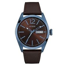 Guess Men's Brown Leather Band Steel Case Quartz Analog Watch W0658G8