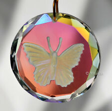 """Etched Butterfly 35mm Ab Crystal Prism Faceted SunCatcher 1-3/8"""" Disk Pendant"""