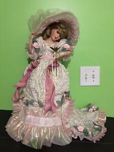 """21"""" Franklin Mint Blushing Rose porcelain doll Maryse Nicole signed COA"""