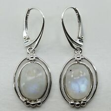 Natural Sparkling Blue MOONSTONE Drop Earrings, solid 925 STERLING SILVER, #0130