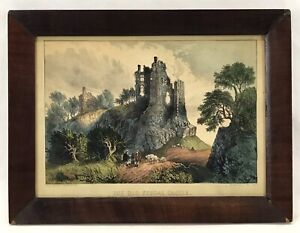 Antique Original Currier & Ives Hand Colored Lithograph THE OLD FEUDAL CASTLE