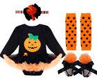 Infant Baby Girls Halloween Pumpkin Outfits Long Sleeves Romper Tutu Dress Gift