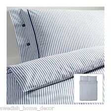 IKEA BLUE Classic Ticking Stripe Cottage Duvet Quilt Cover KING Nyponros
