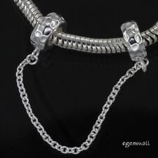 Sterling Silver Hammered European Charm Bracelet Stopper Safety Chain #97439