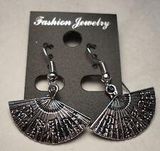 Tibet Silver Oriental Fans Earrings Silver French Hooks FREE SHIPPING #E61