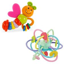 Silicone Rattle Teether Ball with Butterfly Rattle Easy to Hold Soothing Sensory
