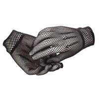 Pair of Womens Elastic Wrist Fishnet Style Finger Gloves Black D1F1