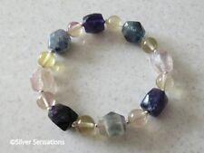 Rainbow Fluorite Nugget Beads Bracelet With Yellow Fluorite & Sterling Silver