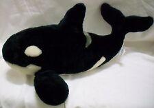 "Sea World Orca Killer Whale Plush Stuffed Animal Black White 16"""